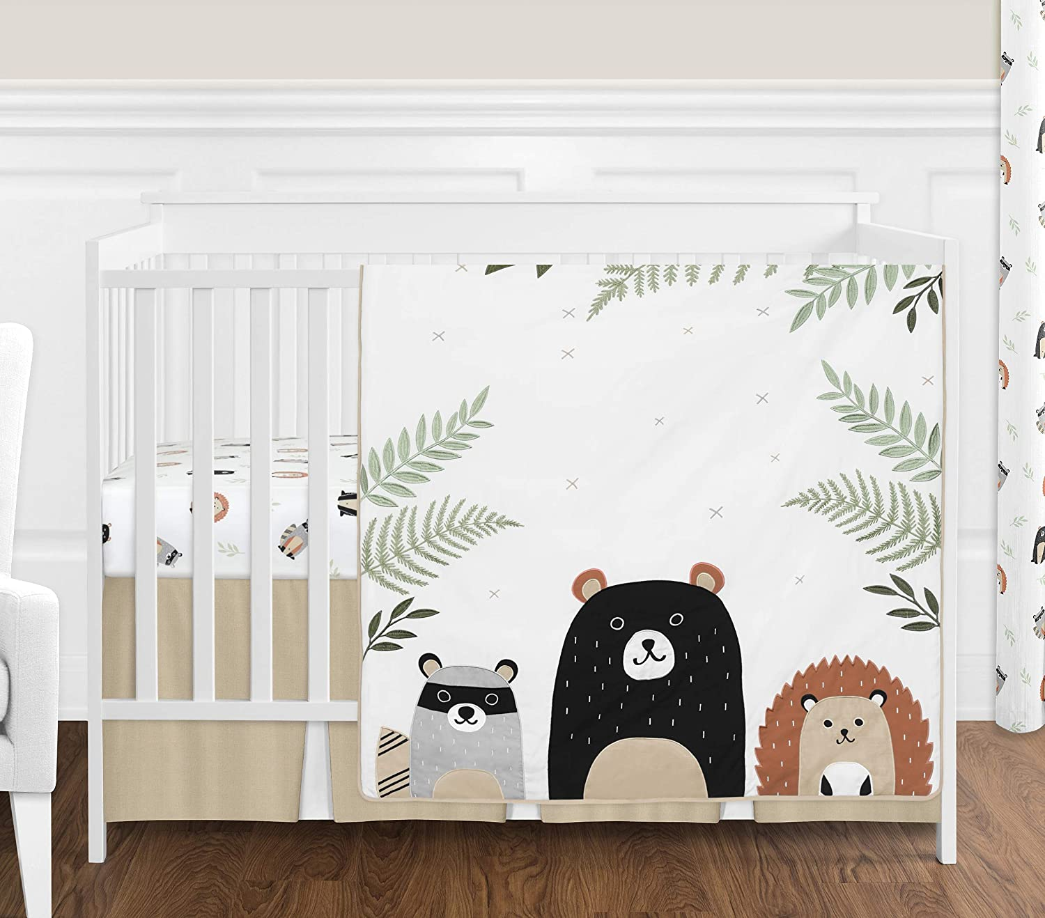 Sweet Jojo Designs Bear Raccoon Hedgehog Forest Animal Woodland Pals Baby Unisex Boy or Girl Nursery Crib Bedding Set Without Bumper - 4 Pieces - Neutral Beige, Green, Black and Grey