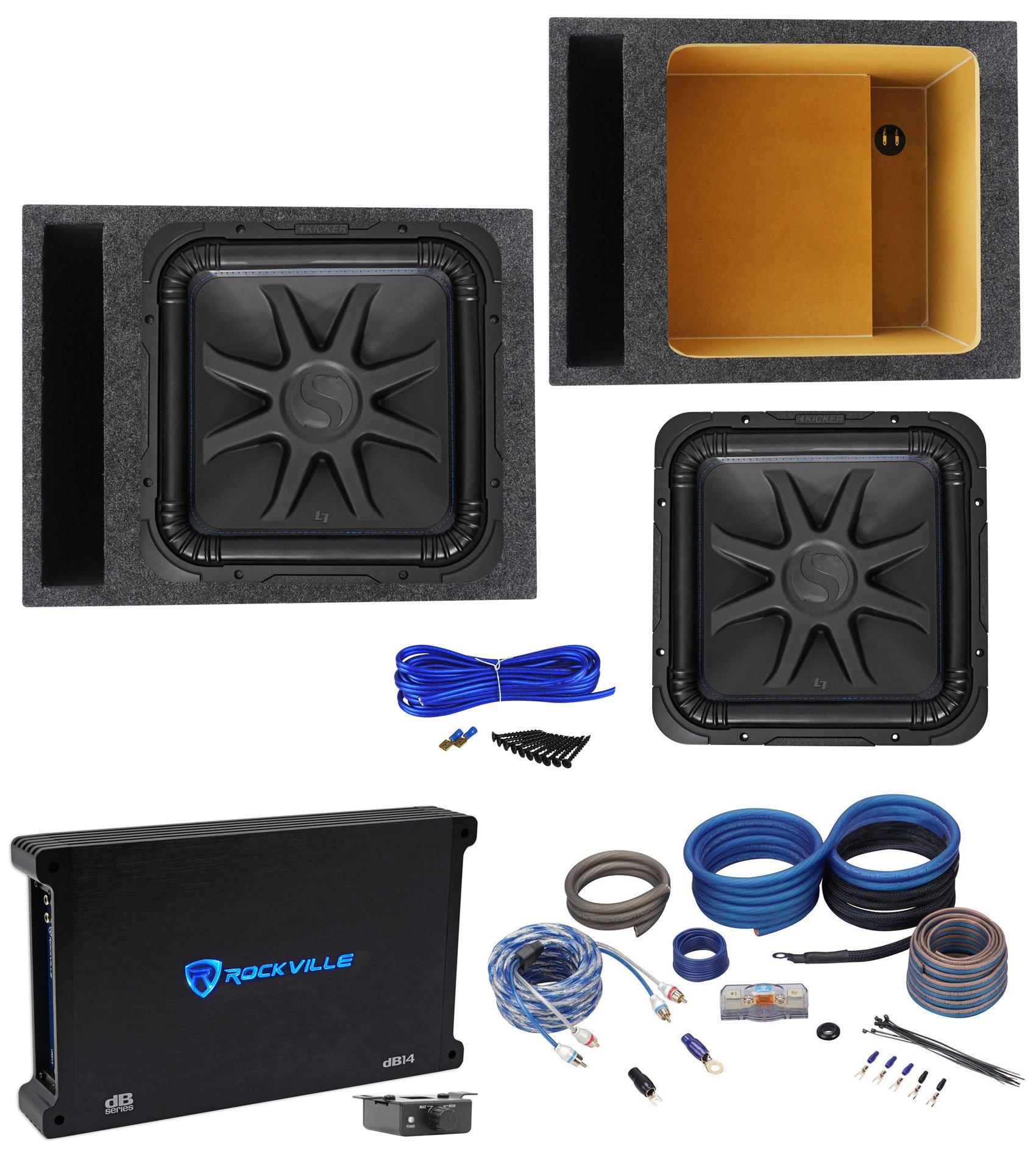 Kicker L7S154 15'' Solobaric L7S Car Subwoofer+Vented Box+Mono Amplifier+Amp Kit
