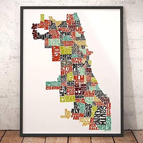 Amazon.com: CHICAGO Map Art Print, Typography Map Art, City Map