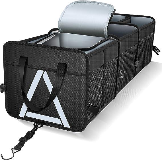 NINGIS Trunk Organizer Car Storage with Bottom Waterproof Heavy Duty Foldable Suit Any in-Vehicle Organization Needs Black-Beige