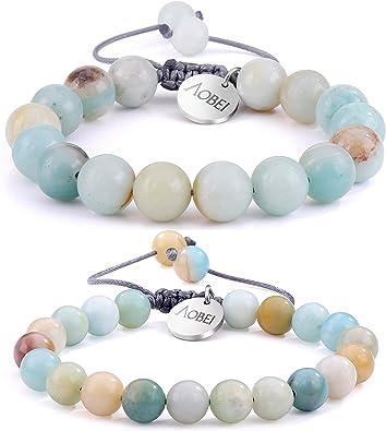 Natural Gemstone Men/'s Women/'s Elasticated bracelet 8mm AMAZONITE beads