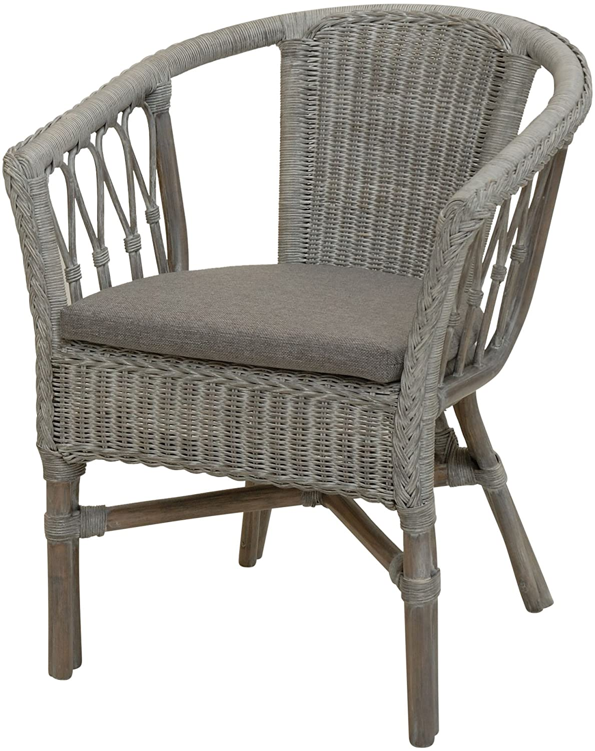 korb.outlet Stackable Rattan Chair/Chair in Natural Rattan with Cushion in Royal Grey
