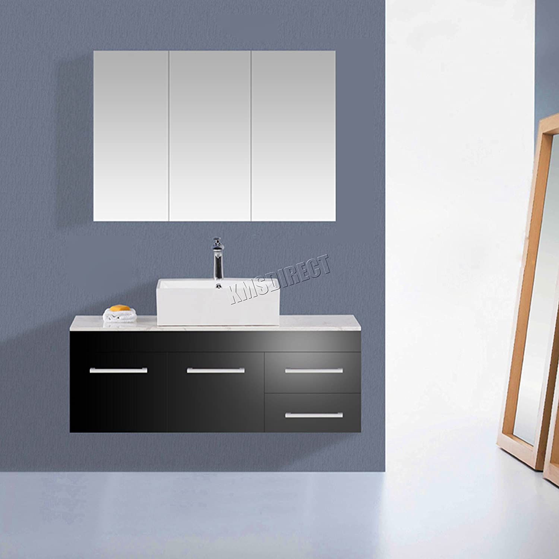 900mm White Gloss Wall Hung 3 Door Bathroom Mirror Cabinet Storage ...