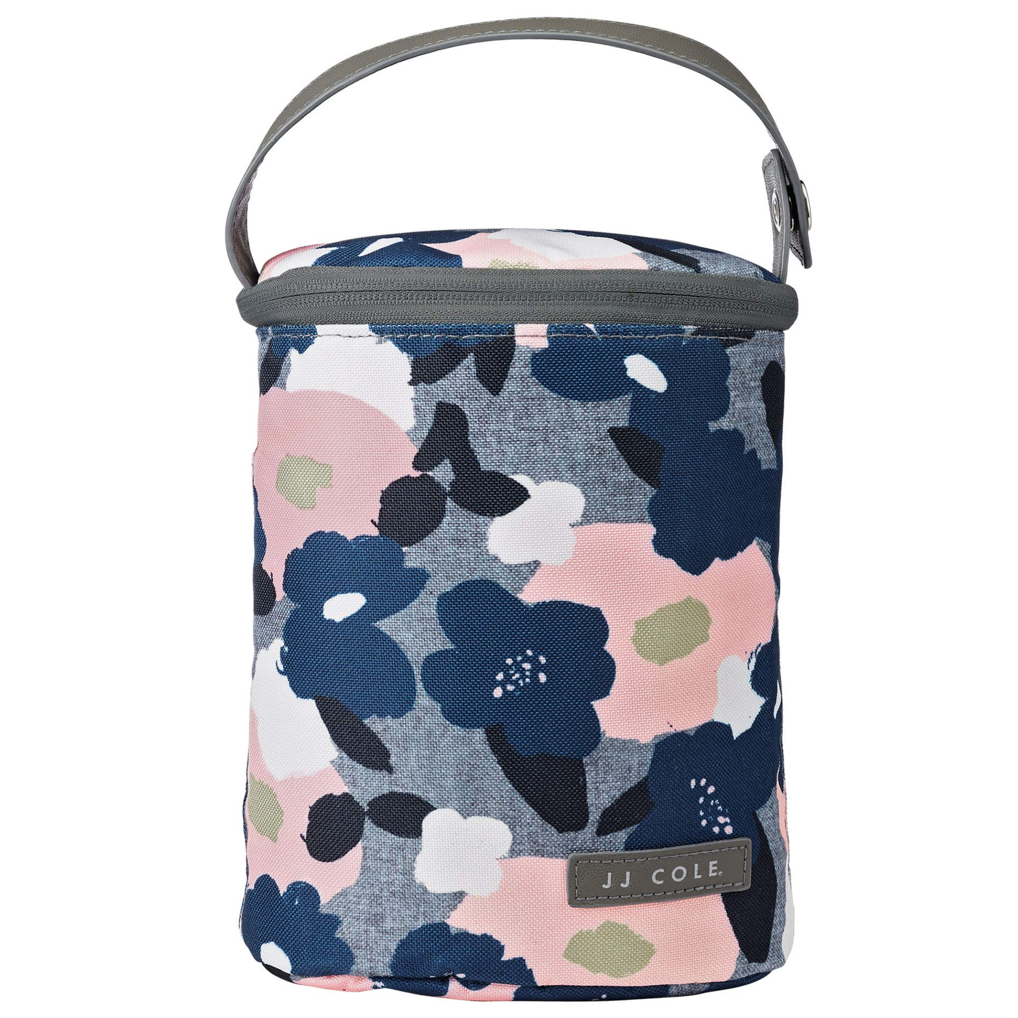 JJ Cole - Bottle Cooler, Insulated Interior for 2 Large Bottles or Sippy Cups, Included Freezer Pack, Exterior Pocket, and Easy Attach Handle, Heather Floral by JJ Cole