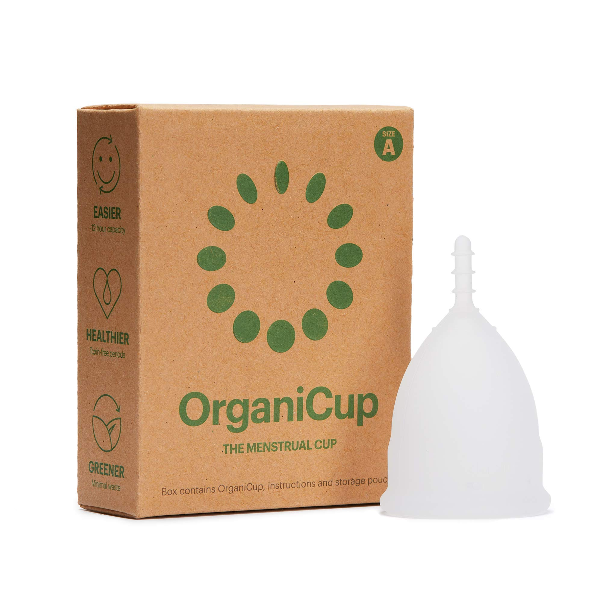 OrganiCup Menstrual Cup Size A. for Those Who Haven't Given Birth Vaginally. Award Winning Period Cup. Allergy Certified