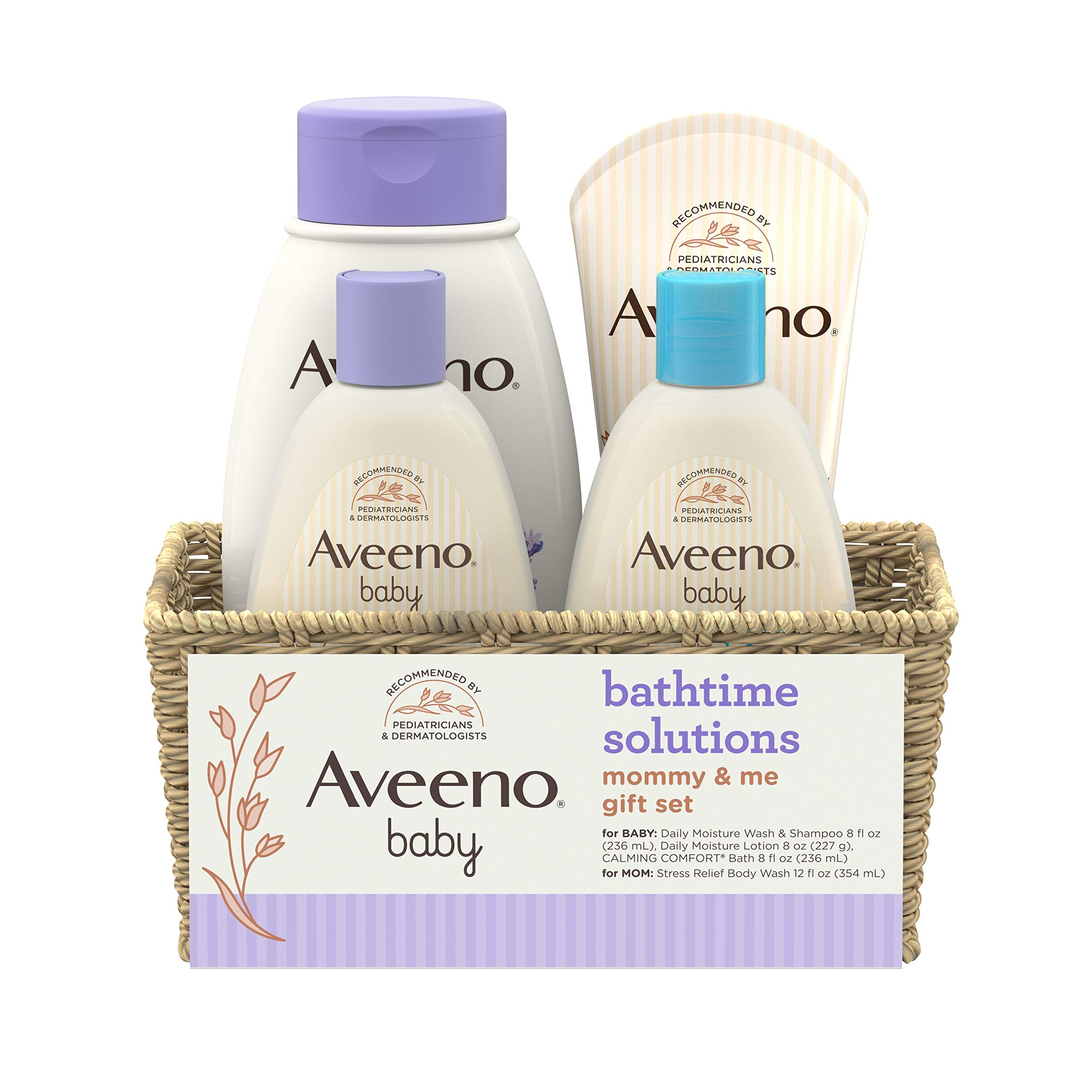 Aveeno Baby Mommy & Me Daily Bathtime Gift Set including Baby Wash & Shampoo, Calming Baby Bath & Wash, Baby Moisturizing Lotion & Stress Relief Body Wash for Mom, 4 Items