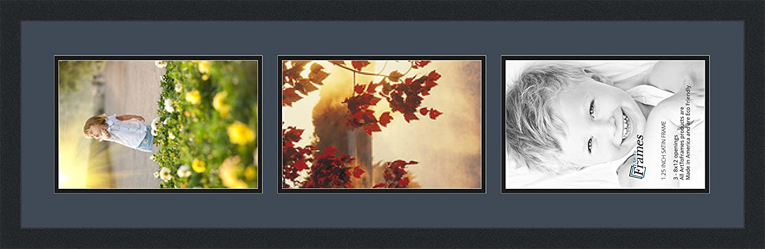 ArtToFrames Collage Photo Frame Double Mat with 3-8x12 Openings and Satin Black Frame