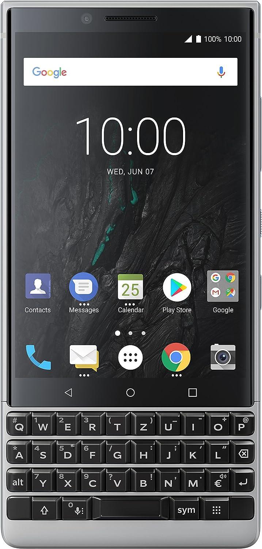 BlackBerry KEY2 64GB - International Version Factory Unlocked 4G//LTE Smartphone Single-SIM, BBF100-1, QWERTZ Keypad Silver