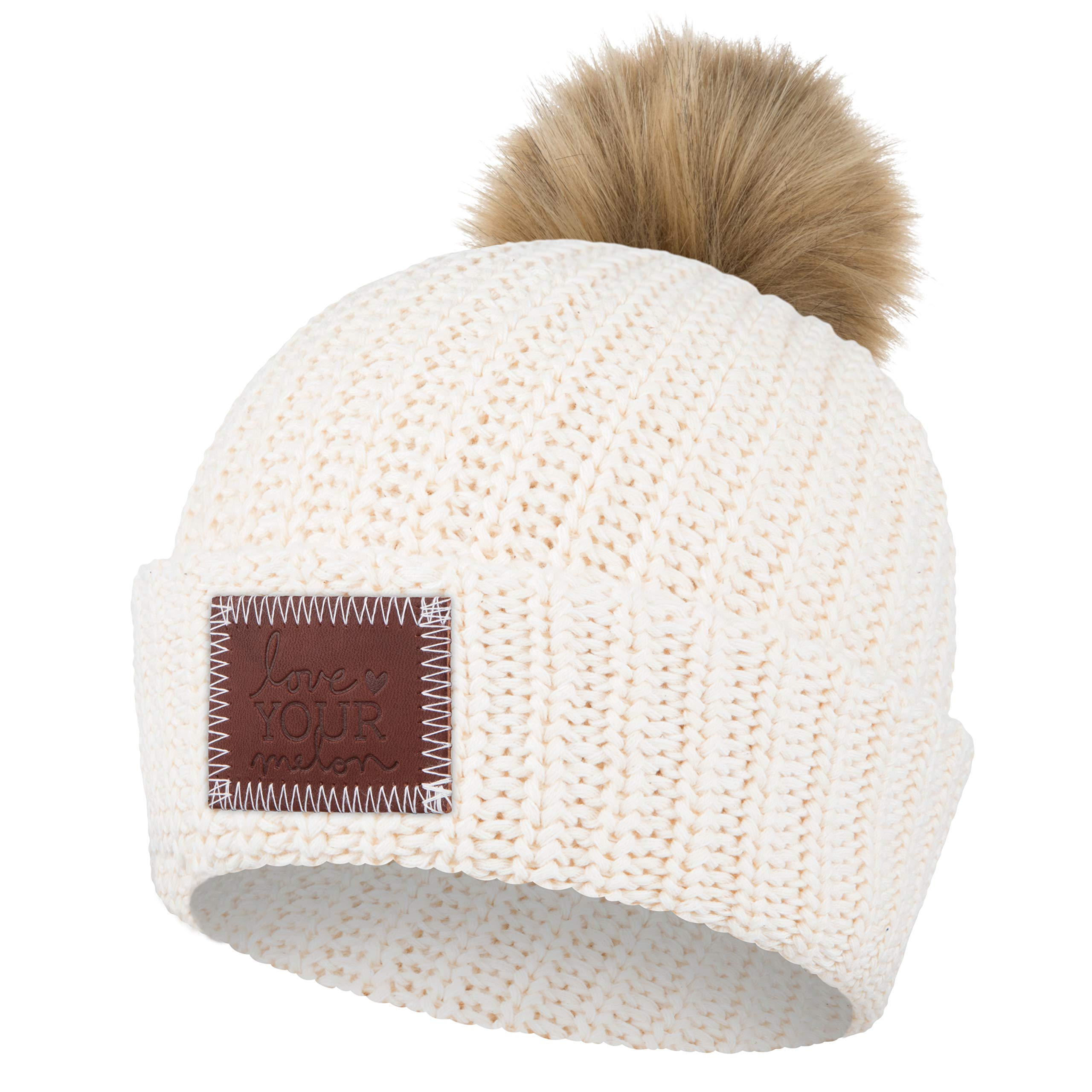 Love Your Melon White Speckled Pom Beanie