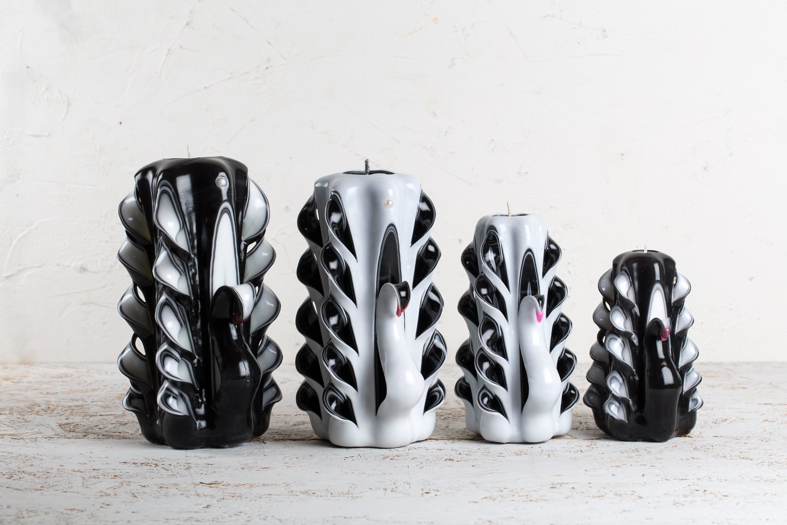 Candle set - White, Black and Pink - Swan family - Decorative carved candle - EveCandles