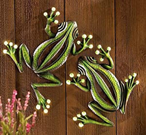 CT DISCOUNT STORE A Set of 2 Metal Wall Frog Glow in The Dark Indoor Outdoor Accent Decor