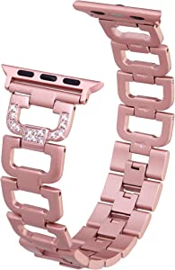 Edgy Tech Compatible Band for Apple Watch – Diamond Rhinestone Studded Stainless Steel Rose Gold Replacement Strap For 38-40mm Series and Models - Elegant D-Link Design Bracelet – Adjustable Size