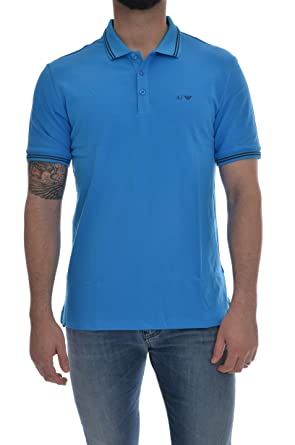 Armani Jeans 8N6F2B1520 Polo para Hombre Azul Claro M: Amazon.es ...