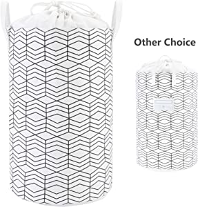 "23.6"" Large Laundry Basket Collapsible Laundry Hamper Drawstring Waterproof Storage Baskets Round Cotton Linen Dirty Clothes Hamper (Black and White Grids)"