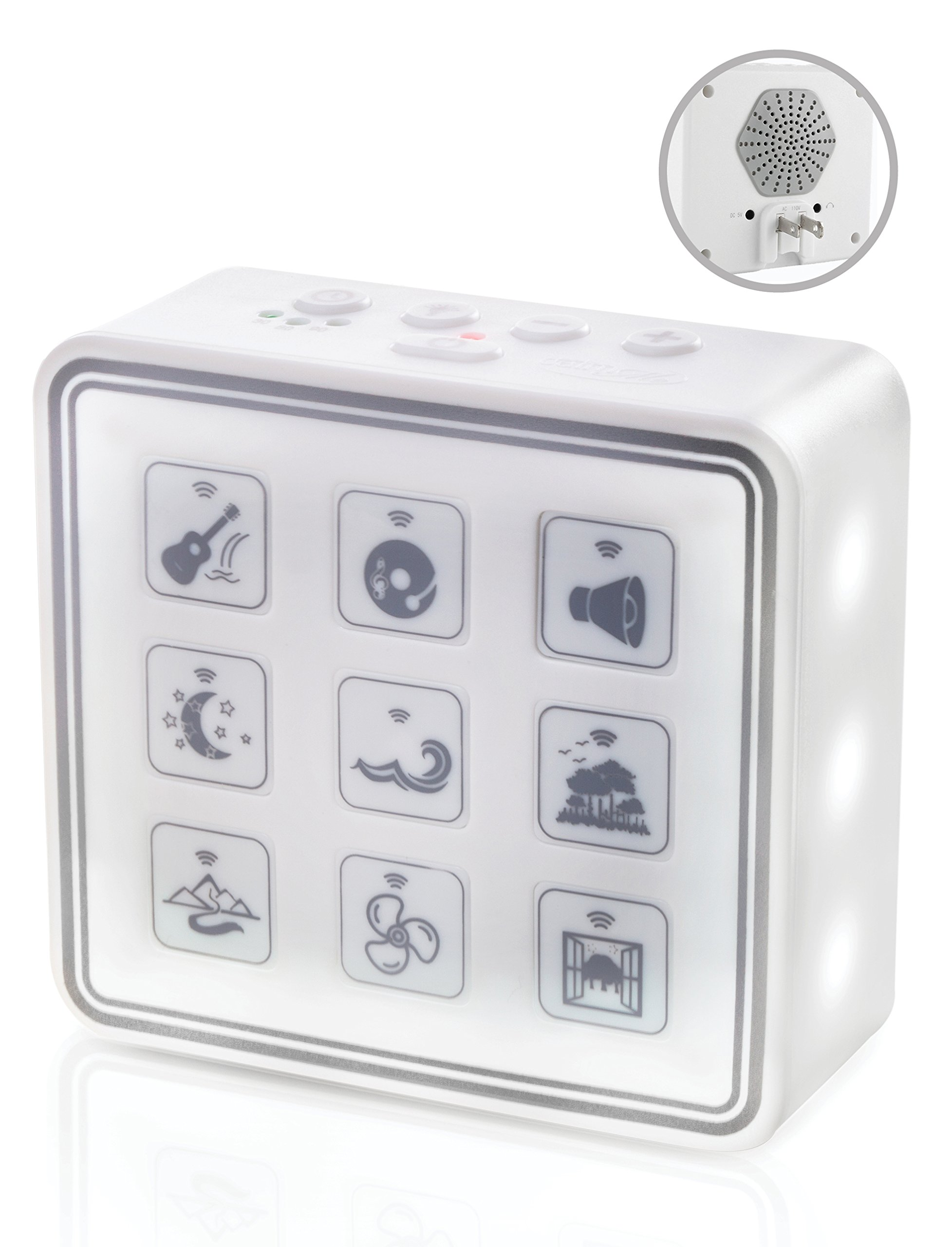 Plug-In Nightlight White Noise Sound Machine – Relaxing Sleep Therapy for Adults & Baby w/9 Natural Sound Settings, Auto Timer, Headphone Jack & USB Cord – Portable for Home & Travel