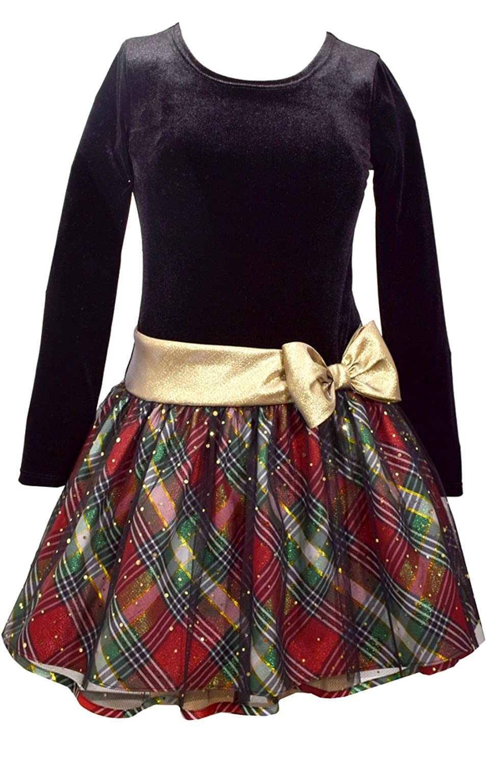 b8d909a65ed6 Gorgeous Bonnie Jean girls special occasion holiday dress features black  stretch velour bodice with deep red and green plaid taffeta skirt.