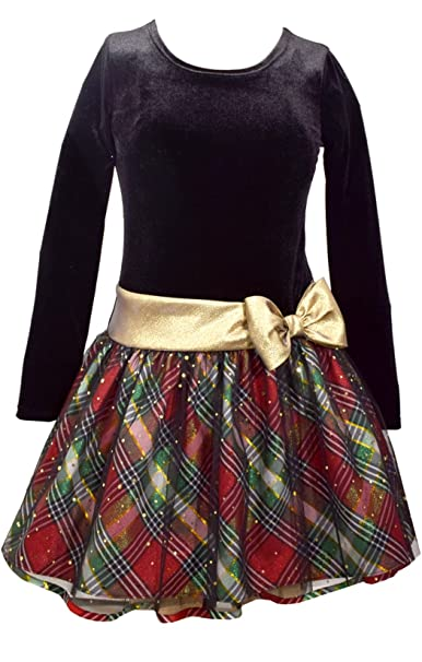 Vintage Style Children's Clothing: Girls, Boys, Baby, Toddler Bonnie Jean Girls Plaid Sparkle Gold Bow Hipster Dress $37.00 AT vintagedancer.com