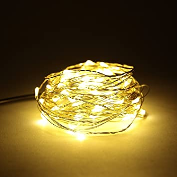 2M LED String Lights,16Pack 6.56FT 20 Starry Fairy String Lights,Waterproof Silver Coated Copper Wire Lights for Bedroom Wedding Party Christmas Decoration,2*CR2032 Battery Powered Warm Yellow