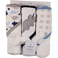 Buttons and Stitches Baby Boys 3 Pack Infant Hooded Towel, Triceratops Prints