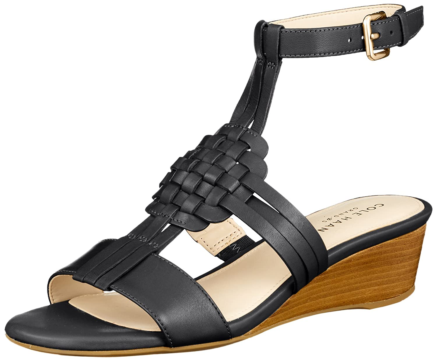 Cole Haan Womens Findra Woven Slide Wedge Sandal B07C2TWRQS 6 B(M) US|Black