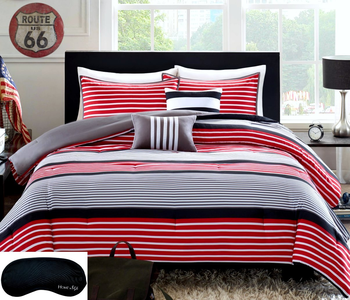 Teen Boys Rugby Stripe Red Black Gray FULL QUEEN Comforter