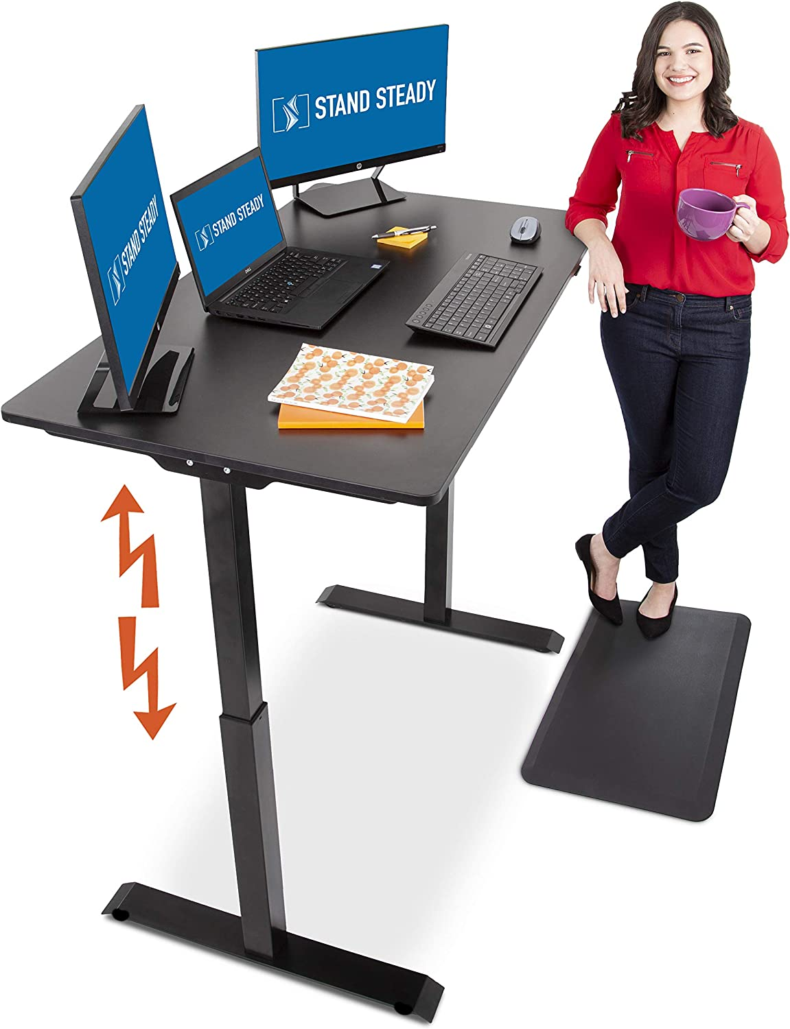 Stand Steady Tranzendesk Power 48 Inch Standing Desk Electric, Height Adjustable, Sit to Stand Up Workstation Quietly Go from Sitting to Standing w Easy Tap Lever 27.5 x 47.5 Black