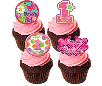 1 Geburtstag Madchen Essbaren Kuchen Dekorationen Pink Stand Up