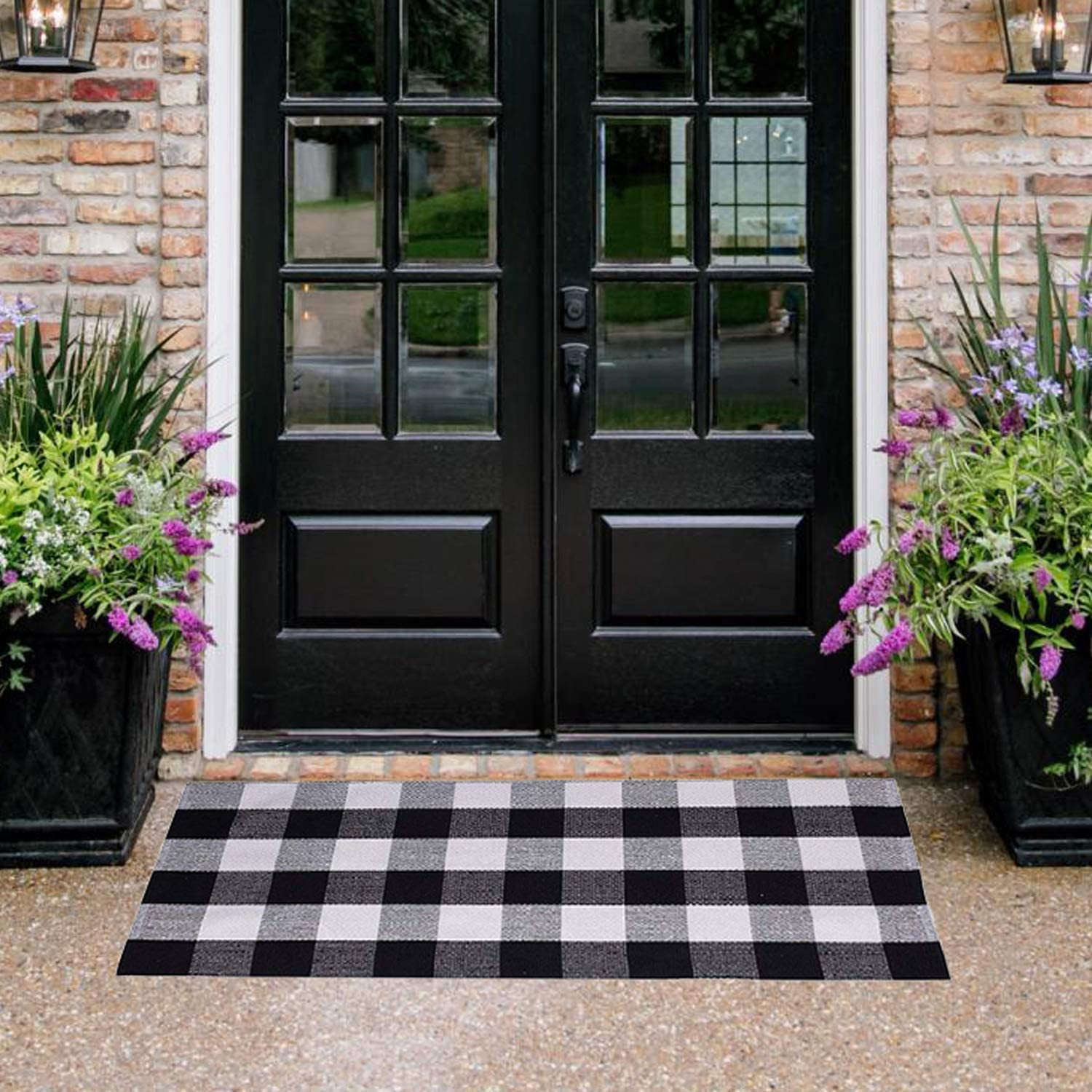 """Buffalo Plaid Rug - YHOUSE Checkered Indoor/Outdoor Door Mat Outdoor Doormat for Front Porch/Kitchen/Laundry Room Welcome Layered Mat (23.6""""X51.2"""", Black and White Plaid)"""