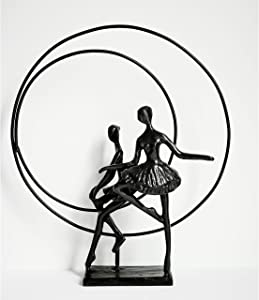 Handcrafted Metal Sculpture - Two Ballerinas at Rest - Elegant and Refined Statuette