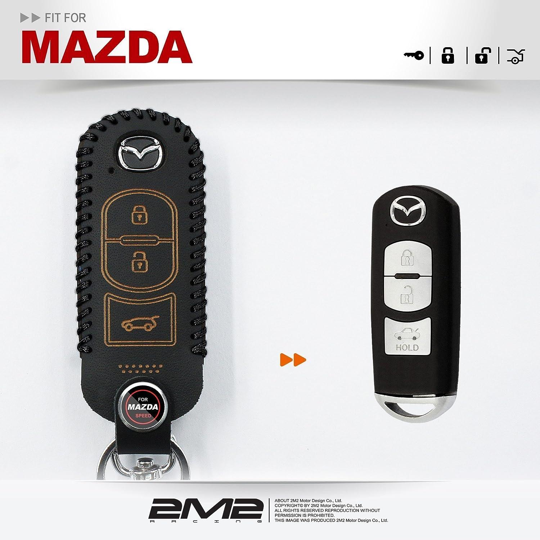 レザーキーFobホルダーケースチェーンカバーMazdaマツダm5のmazda3マツダデミオmazda6 CX - 5 CX - 7 CX - 3 CX - 9 MX - 5 3buttons ブラック 2M2 B07BK5DDXC 2 2