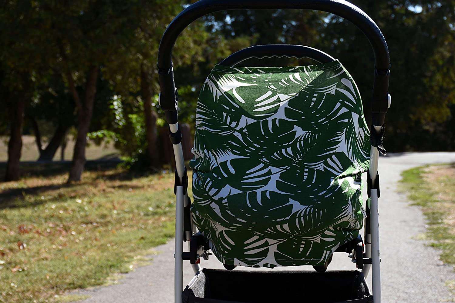 Stroller Nursing Cover Breastfeeding Cover carseat Canopy Stretchy car seat Cover Palm Leaves Shopping Cart Carseat Covers for Girls and Boys Baby car seat Cover Multi Use Nursing Cover