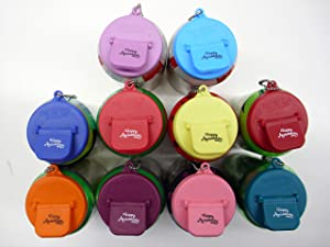 Beverage Buddee Can Cover with Happy Anniversary Imprint - Best Can Cover For Standard Size Soda/Beer/Energy Drink Cans - Made In The USA - BPA-PCB Free - Assorted Colors - 10 Pack (Keychain)