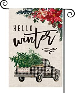 AVOIN Hello Winter Watercolor Buffalo Check Plaid Truck Poinsettia Pinecones Christmas Tree Garden Flag Vertical Double Sized, Holiday Party Yard Outdoor Decoration 12.5 x 18 Inch