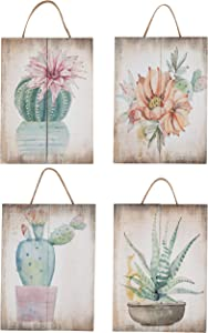 Juvale Wooden Wall Ornament - 4-Piece Small Hanging Decorations Cactus Succulents Design, Natural Decor Living Room, Hallway Dining Room, 8 x 5.9 x 0.9 inches