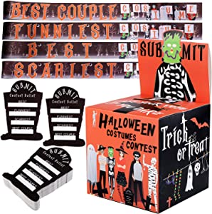 URATOT Halloween Party Supplies Costume Contest Ballot Box and 60 Voting Cards, 4 Pieces Costume Contest Sashes for Home Indoor Office Party Games