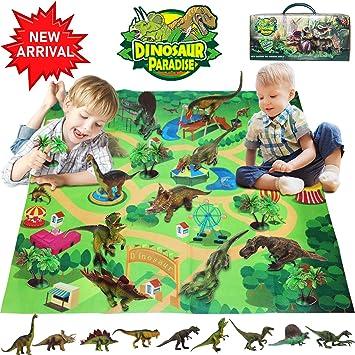 Bdwing Dinosaurio del Juguete, Dinosaurios educativos realistas con tapete de Juego para Crear un Mundo jurásico, Que Incluye T-Rex, Triceratops, Velociraptor, Regalo para niños: Amazon.es: Juguetes y juegos
