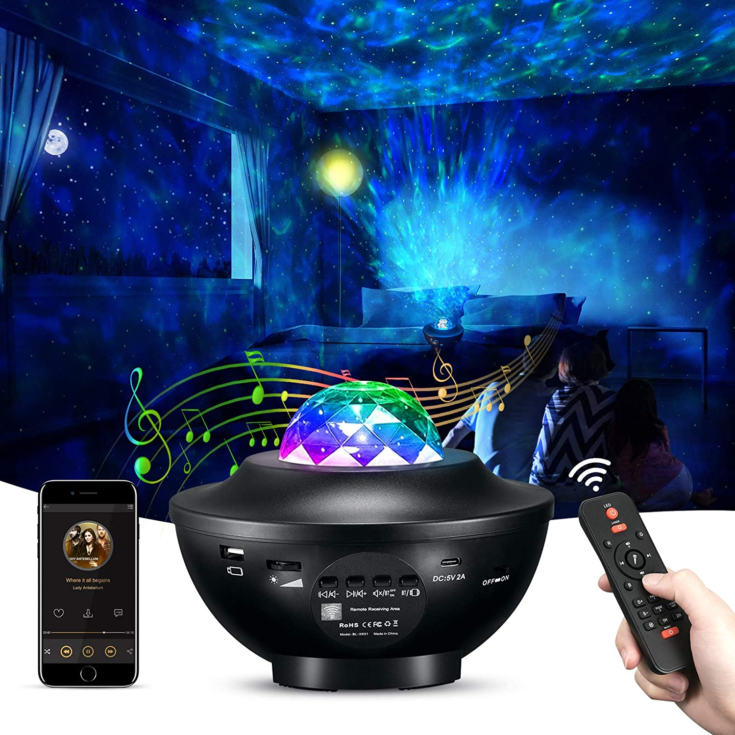 Janusoma Galaxy Projector Star Projector Laser Light with Bluetooth Speaker, 10 Colors Changing Night Light for Bedroom Decoration