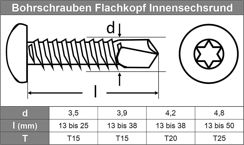 TORX V2A Schnellbauschrauben DIN 7504 D/´s Items/® Innensechsrund-Antrieb z.B. Aluminium - 4,8x38 - Edelstahl A2 - - Bohrschrauben mit Flachkopf u Form M f/ür Weichmetalle 20 St/ück