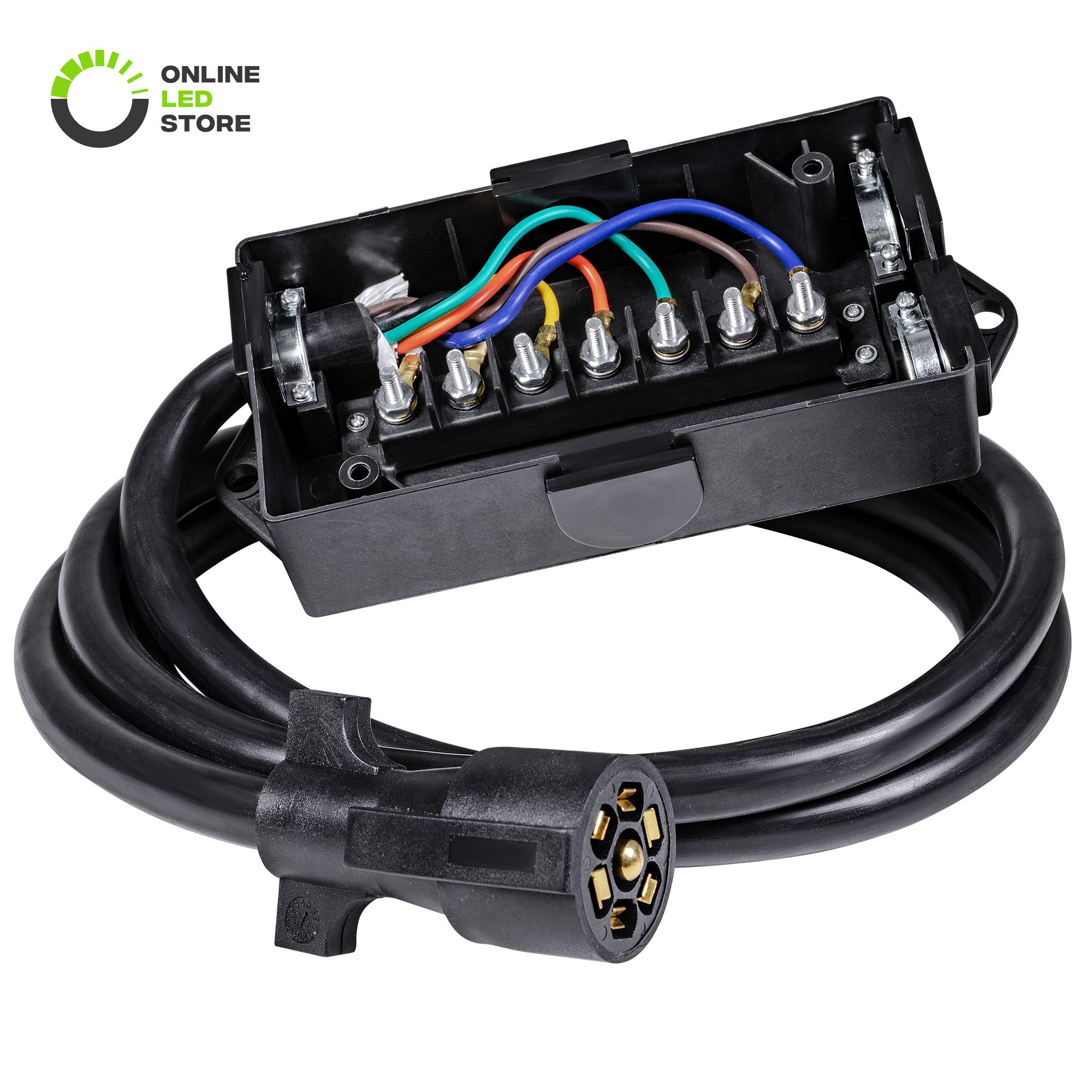 ONLINE LED STORE 7-Port Trailer Wiring Junction Box w/ 8ft Cord [Steel Studs] [Stickers Included] [Weatherproof] Trailer Wire/Cable Connection Box by ONLINE LED STORE