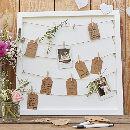 Ginger Ray Wooden Alternative Guestbook with Peg and String in White - Rustic Country