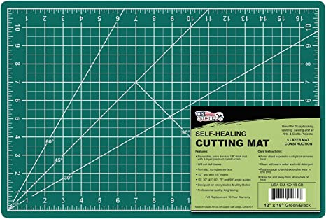 Amazon Com Us Art Supply 12 X 18 Green Black Professional Self Healing 5 Ply Double Sided Durable Non Slip Pvc Cutting Mat Great For Scrapbooking Quilting Sewing And All Arts Crafts Projects