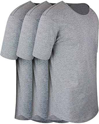 ed3f46a3 ShirtBANC Mens Hipster Hip Hop Long Drop Tail T Shirts (Athletic Heather 3  Pack,