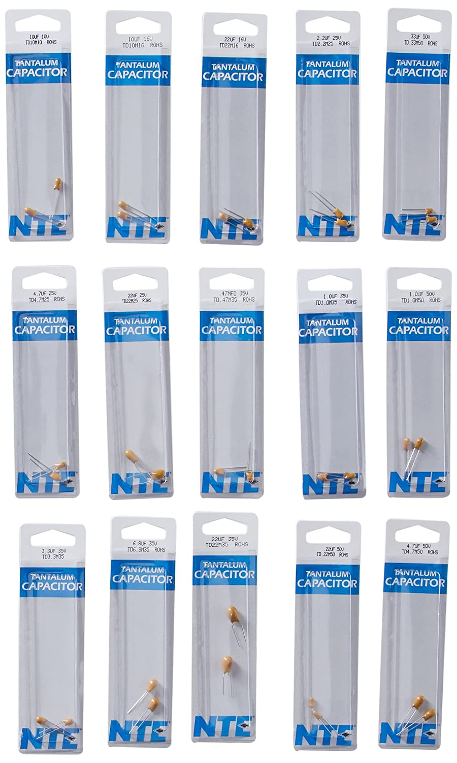 30 Types of 2 Each Inc. NTE Electronics CK-04 Tantalum Capacitor Kit Pre-Packaged Assorted Capacitance 10V To 50V