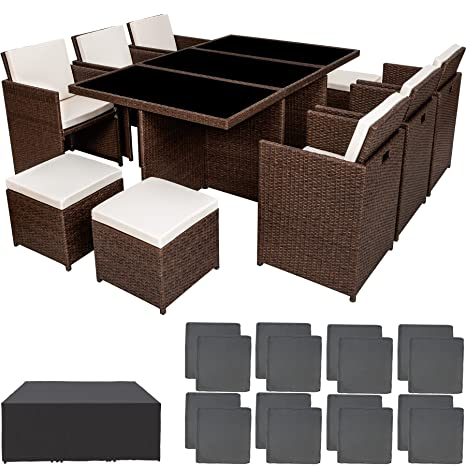 TecTake Poly ratán aluminio sintético muebles de jardín comedor juego 6+4+1 + funda completa + set de fundas intercambiables - disponible en ...