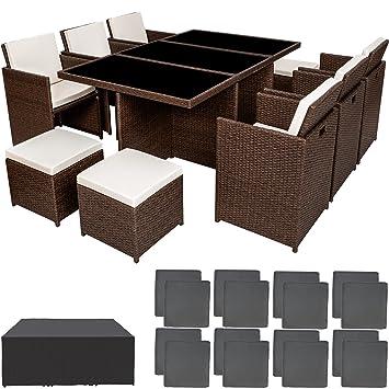 TecTake Ensemble Salon de jardin en Résine Tressée Poly Rotin Aluminium  Table Set 6+1+4 avec deux set de housses + housse de protection - diverses  ...