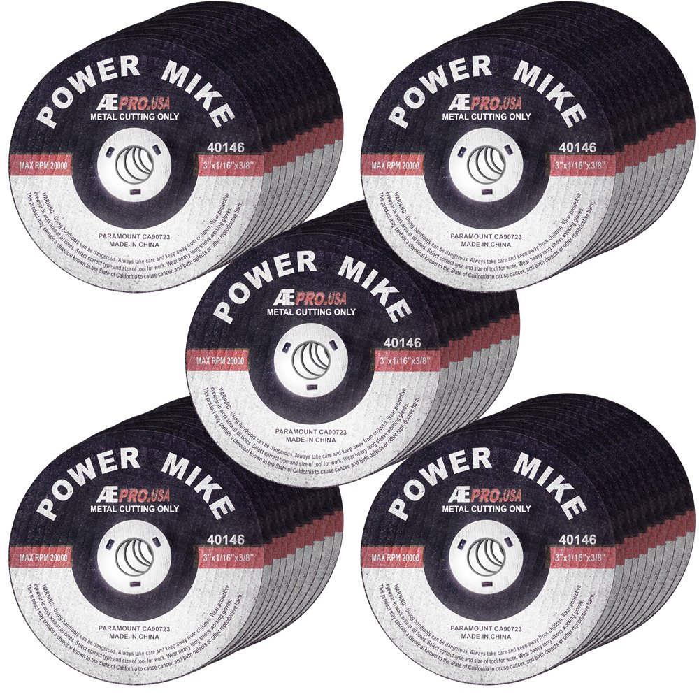 50 PACK - CUT OFF WHEELS 3' x 1/16' x 3/8' - AGGRESSIVE CUTTING FOR ALL METAL AND STAINLESS STEEL. OCM