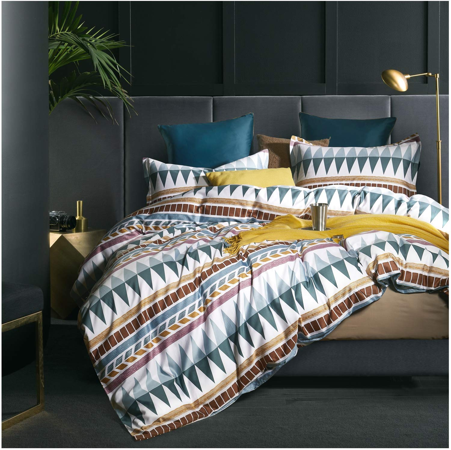 Bohemian Duvet Cover Striped Ethnic Boho Reversible Southwestern 400TC Cotton Bedding 3pc Set Navy White Orange Modern Geo Aztec Print (Queen, Teal Rust)