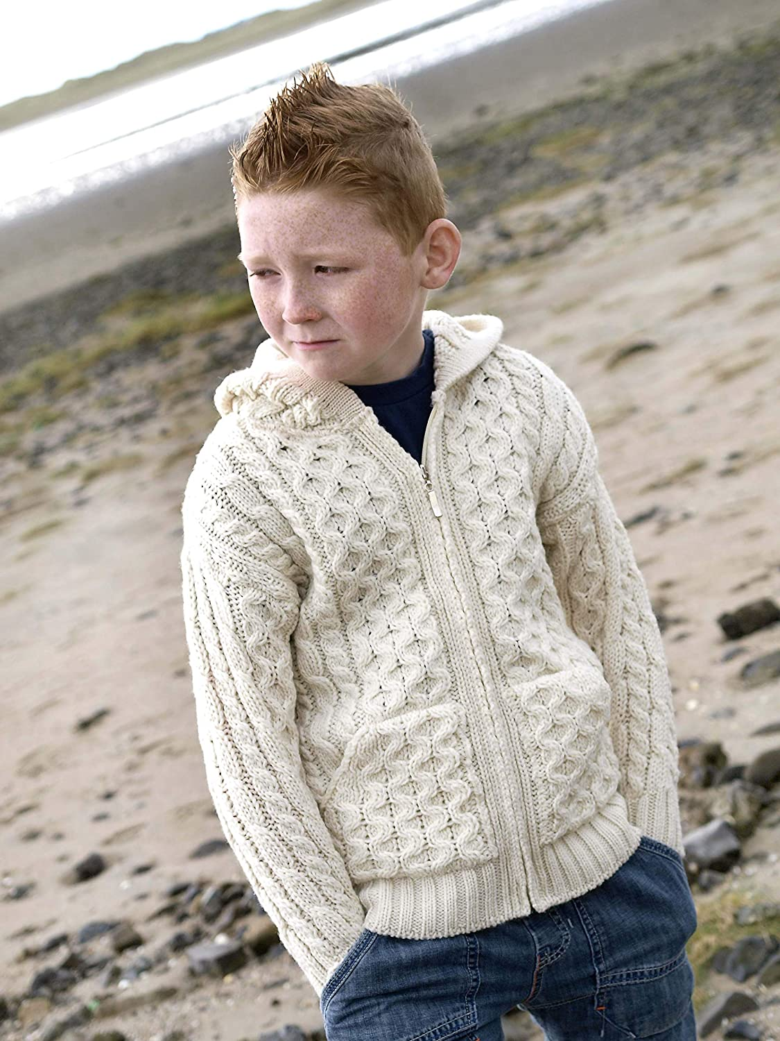 100/% Irish Merino Wool Little Boys Hooded Zip Sweater with Pockets by West End