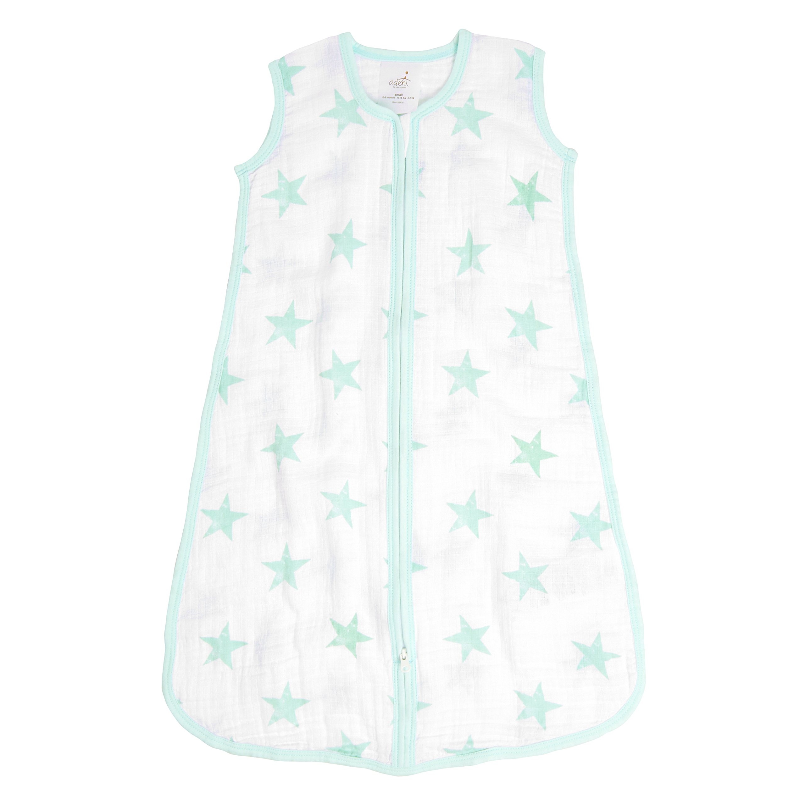 Aden by Aden + Anais Classic Sleeping Bag, 100% Cotton Muslin, Wearable Baby Blanket, Dream, Stars, Small, 0-6 Months