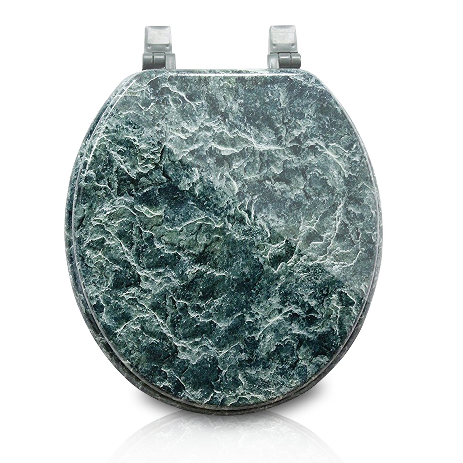 Trimmer Marblized Molded Wood Toilet Seats Faux-marble Painting In Green Marble - Wood Composite with Water and Stain-resistant Finish